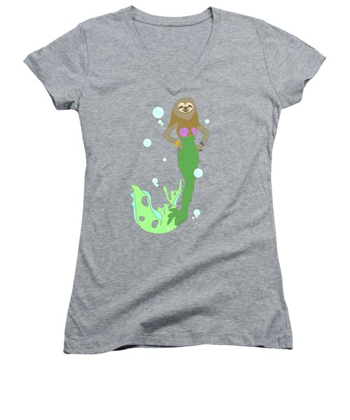 Sloth Mermaid Women's V-Neck T-Shirt (Junior Cut) by Notsniw Art