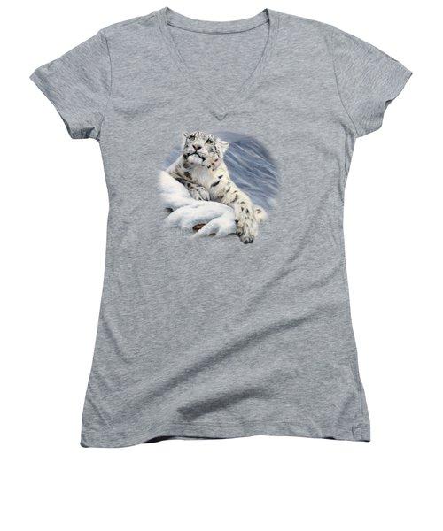 Snow Leopard Women's V-Neck T-Shirt (Junior Cut) by Lucie Bilodeau