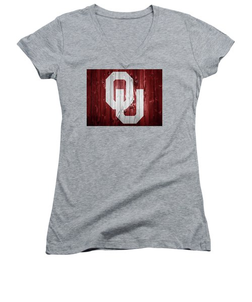 Sooners Barn Door Women's V-Neck T-Shirt (Junior Cut) by Dan Sproul