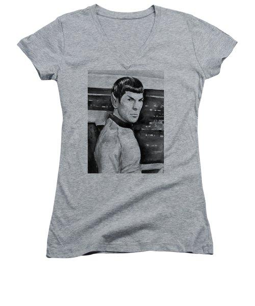 Spock Women's V-Neck T-Shirt (Junior Cut) by Olga Shvartsur
