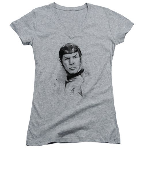 Spock Portrait Women's V-Neck T-Shirt (Junior Cut) by Olga Shvartsur
