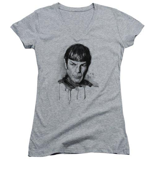 Spock Portrait Watercolor Star Trek Fan Art Women's V-Neck T-Shirt (Junior Cut) by Olga Shvartsur