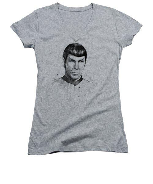 Spock Watercolor Portrait Women's V-Neck T-Shirt (Junior Cut) by Olga Shvartsur