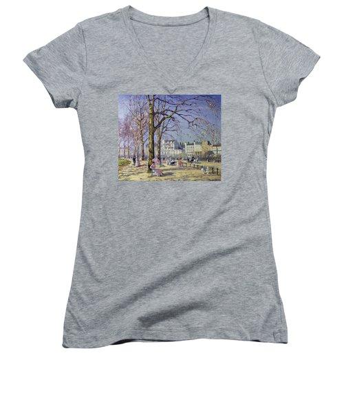 Spring In Hyde Park Women's V-Neck T-Shirt (Junior Cut) by Alice Taite Fanner