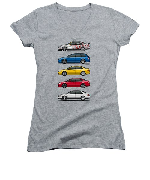 Stack Of Audi A4 B5 Type 8d Women's V-Neck T-Shirt (Junior Cut) by Monkey Crisis On Mars