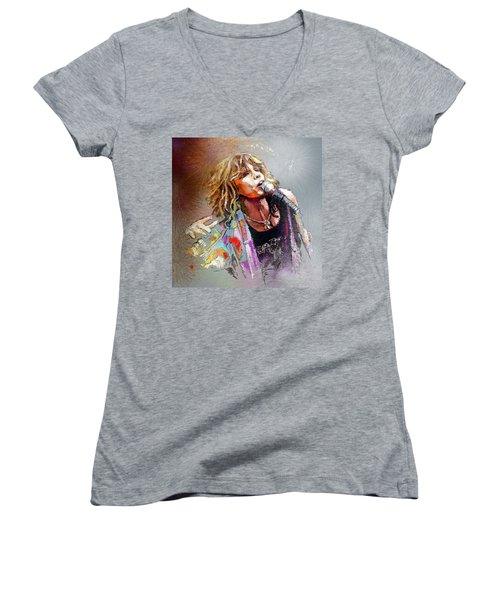 Steven Tyler 02  Aerosmith Women's V-Neck T-Shirt (Junior Cut) by Miki De Goodaboom