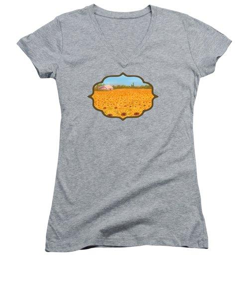 Sunflower Field Women's V-Neck T-Shirt (Junior Cut) by Anastasiya Malakhova