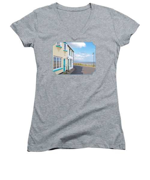 Sunny Outlook - Southwold Seafront Women's V-Neck T-Shirt (Junior Cut) by Gill Billington