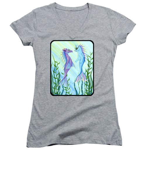 Sunrise Swim - Sea Dragon Mermaid Cat Women's V-Neck T-Shirt (Junior Cut) by Carrie Hawks
