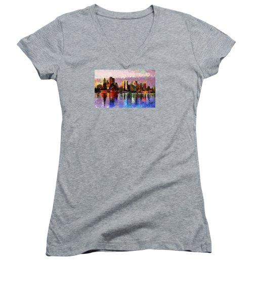 Sydney Here I Come Women's V-Neck T-Shirt (Junior Cut) by Sir Josef Social Critic - ART
