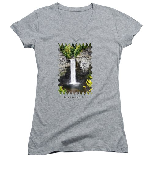 Taughannock Falls View From The Top Women's V-Neck T-Shirt (Junior Cut) by Christina Rollo