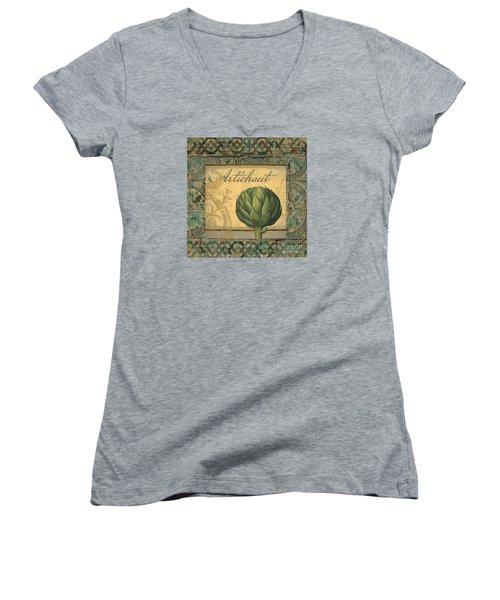 Tavolo, Italian Table, Artichoke Women's V-Neck T-Shirt (Junior Cut) by Mindy Sommers