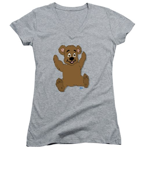 Teddy's First Portrait Women's V-Neck T-Shirt (Junior Cut) by Pharris Art