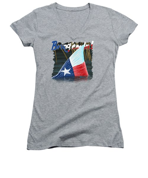 Texas Tails Women's V-Neck T-Shirt (Junior Cut) by Kevin Putman