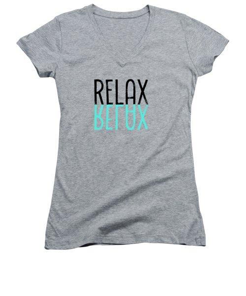 Text Art Relax - Cyan Women's V-Neck T-Shirt (Junior Cut) by Melanie Viola