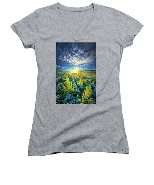 That Voices Never Shared Women's V-Neck T-Shirt (Junior Cut) by Phil Koch