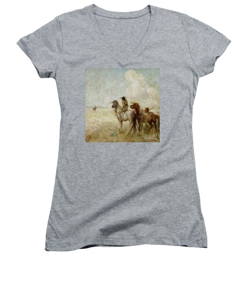 The Bison Hunters Women's V-Neck T-Shirt (Junior Cut) by Nathaniel Hughes John Baird