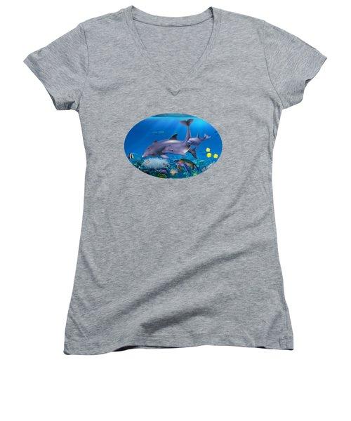 The Dolphin Family Women's V-Neck T-Shirt (Junior Cut) by Glenn Holbrook