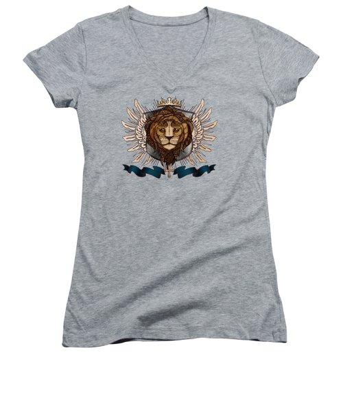 The King's Heraldry II Women's V-Neck T-Shirt (Junior Cut) by April Moen