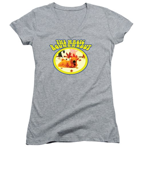 The Magic Roundabout Retro Design Hippy Design 60s And 70s Women's V-Neck T-Shirt (Junior Cut) by Paul Telling