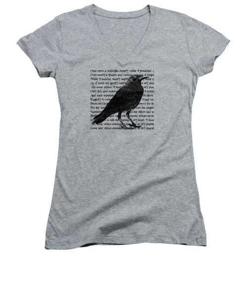 The Raven Poem Art Print Women's V-Neck T-Shirt (Junior Cut) by Sandra McGinley