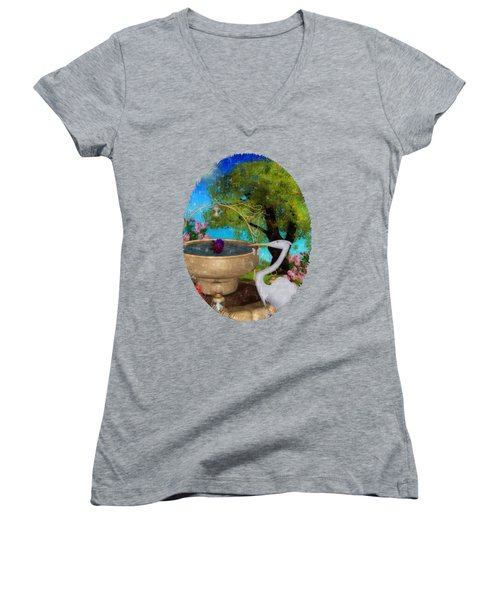 The Rose Path Egret Women's V-Neck T-Shirt (Junior Cut) by Sharon and Renee Lozen