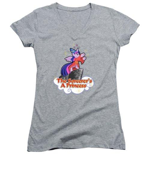 The Sorcerer's A Princess Women's V-Neck T-Shirt (Junior Cut) by J L Meadows