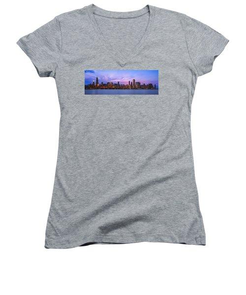 The Windy City Women's V-Neck T-Shirt (Junior Cut) by Scott Norris