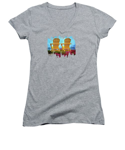 The Yellow Chairs By The Sea Women's V-Neck T-Shirt (Junior Cut) by Thom Zehrfeld