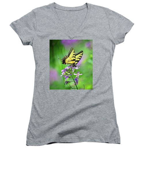 Women's V-Neck T-Shirt (Junior Cut) featuring the photograph Tiger Swallowtail by Rodney Campbell