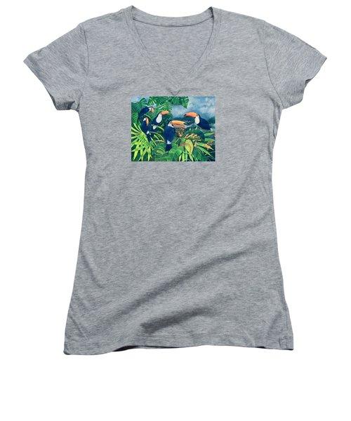 Toucan Talk Women's V-Neck T-Shirt (Junior Cut) by Lisa Graa Jensen