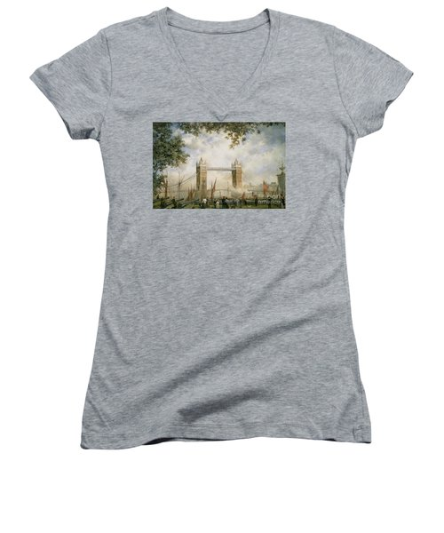 Tower Bridge - From The Tower Of London Women's V-Neck T-Shirt (Junior Cut) by Richard Willis