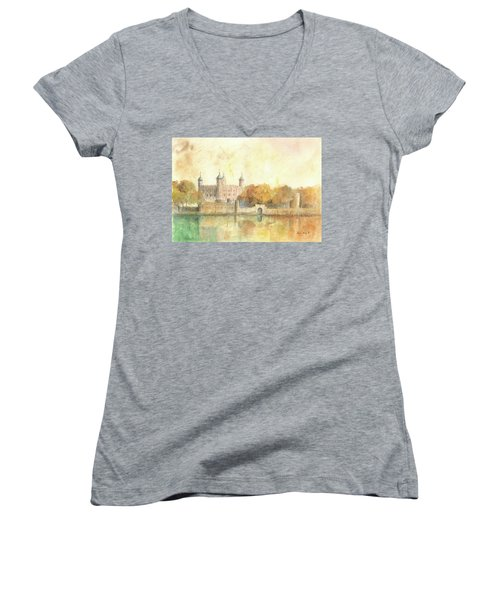 Tower Of London Watercolor Women's V-Neck T-Shirt (Junior Cut) by Juan Bosco