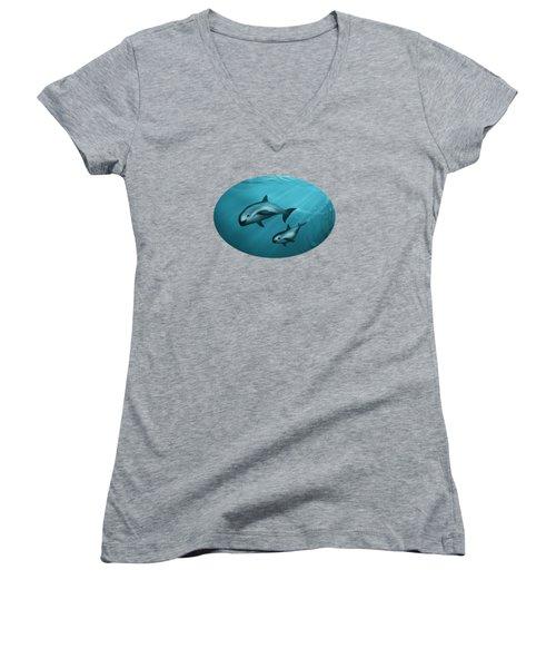 Treacherous Waters Vaquita Porpoise Women's V-Neck T-Shirt (Junior Cut) by Amber Marine