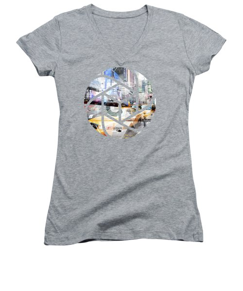 Trendy Design Nyc Geometric Mix No 9 Women's V-Neck T-Shirt (Junior Cut) by Melanie Viola