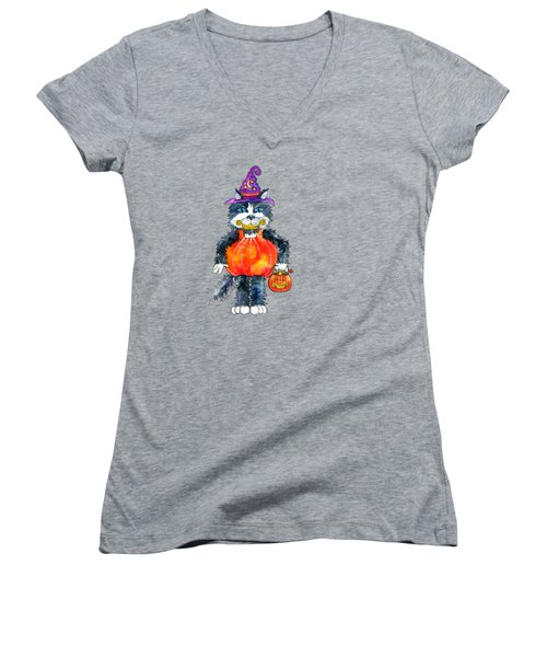 Trick Or Treat Women's V-Neck T-Shirt (Junior Cut) by Shelley Wallace Ylst