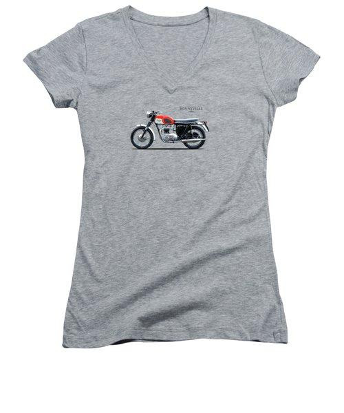 Triumph Bonneville 1966 Women's V-Neck T-Shirt (Junior Cut) by Mark Rogan