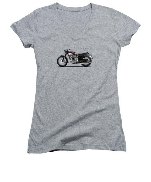 Triumph Bonneville 1968 Women's V-Neck T-Shirt (Junior Cut) by Mark Rogan