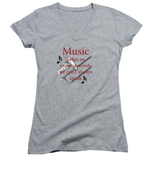 Trombone Music Expresses Words Women's V-Neck T-Shirt (Junior Cut) by M K  Miller