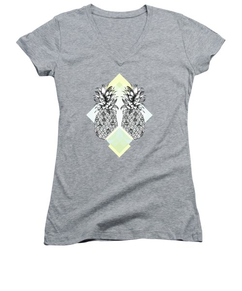 Tropical Women's V-Neck T-Shirt (Junior Cut) by Barlena Illustrations