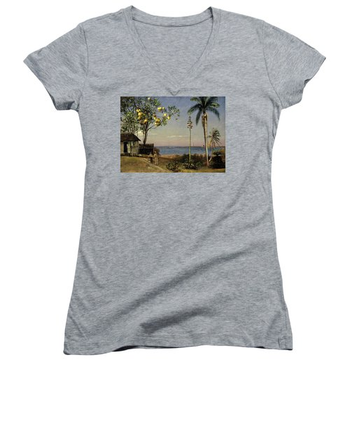 Tropical Scene Women's V-Neck T-Shirt (Junior Cut) by Albert Bierstadt