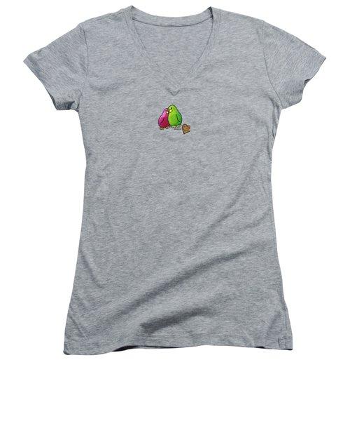 True Love Heart Women's V-Neck T-Shirt (Junior Cut) by LimbBirds Whimsical Birds