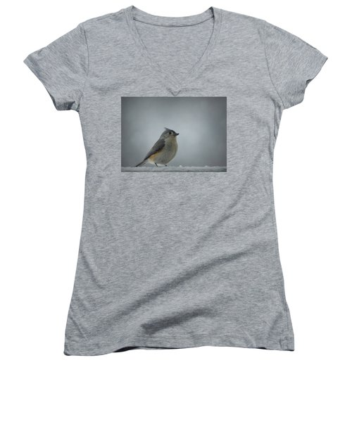 Tufted Titmouse In The Snow Women's V-Neck T-Shirt (Junior Cut) by Cricket Hackmann