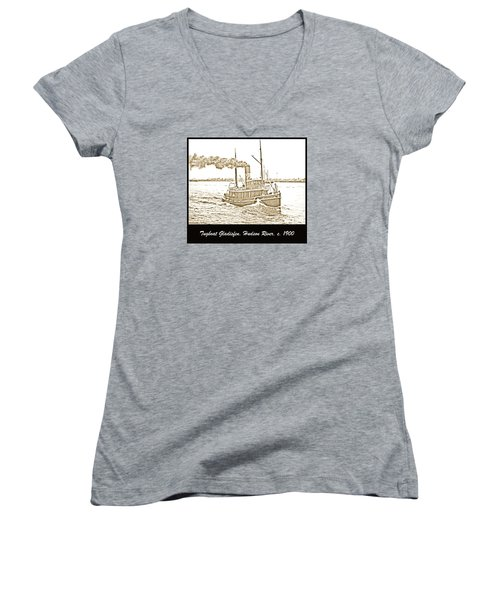 Women's V-Neck T-Shirt (Junior Cut) featuring the photograph Tugboat Gladisfen Hudson River C 1900 Vintage Photograph by A Gurmankin