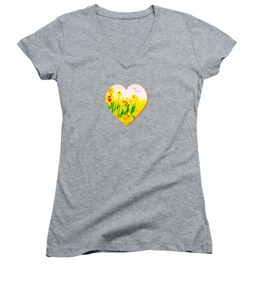 Tulips In Springtime-floral Painting By V.kelly Women's V-Neck T-Shirt (Junior Cut) by Valerie Anne Kelly