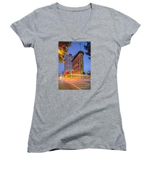Twilight Photograph Of The Flatiron Building In Downtown Fort Worth - Texas Women's V-Neck T-Shirt (Junior Cut) by Silvio Ligutti