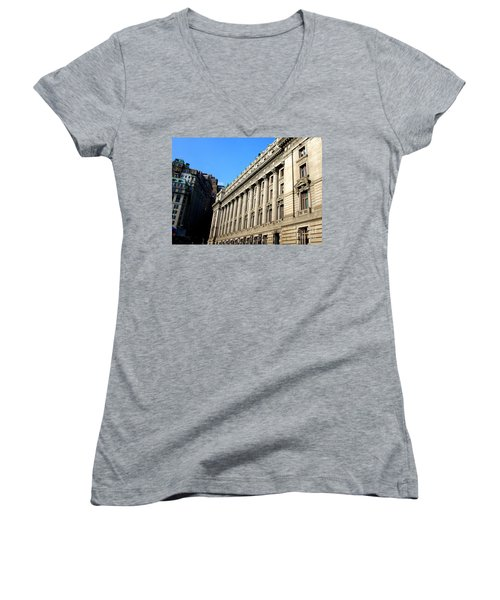 U S Custom House 1 Women's V-Neck T-Shirt (Junior Cut) by Randall Weidner