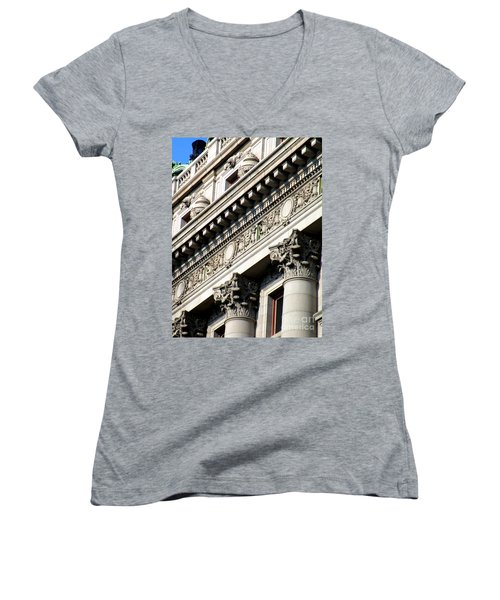 U S Custom House 2 Women's V-Neck T-Shirt (Junior Cut) by Randall Weidner