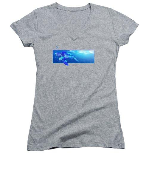 Underwater Sea Turtle Women's V-Neck T-Shirt (Junior Cut) by Chris MacDonald