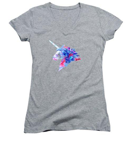 Unicorn Dream Women's V-Neck T-Shirt (Junior Cut) by Anastasiya Malakhova